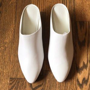 vince vigo white leather mules